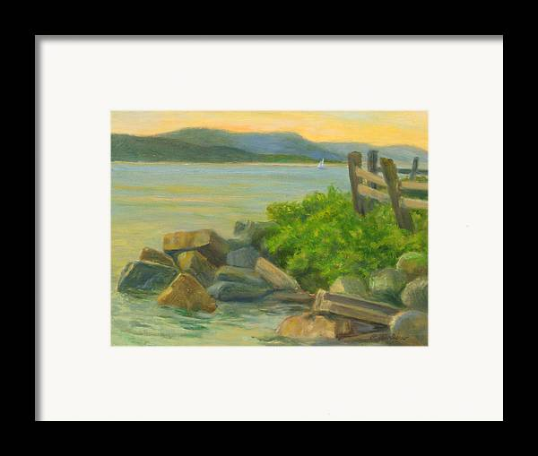 Landscape Framed Print featuring the painting Serenity On The Hudson by Phyllis Tarlow