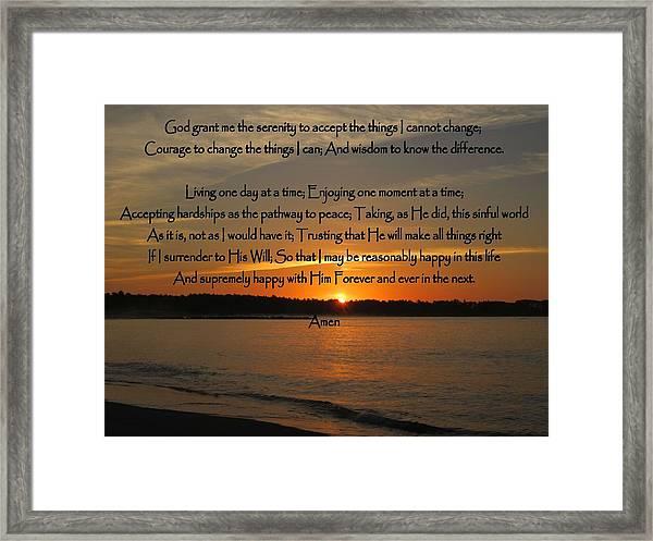 Serenity Prayer Full Version Framed Print by Patricia Urato