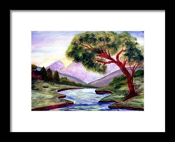 Landscape Framed Print featuring the painting Serenity by Robin Monroe