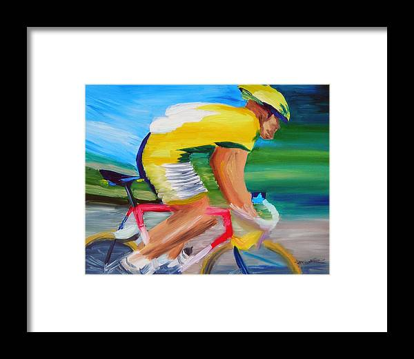 Cycling Framed Print featuring the painting Serinity by Michael Lee