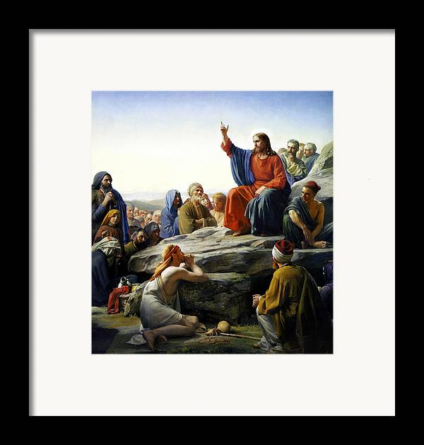 Sermon On The Mount Framed Print featuring the painting Sermon On The Mount by Carl Bloch