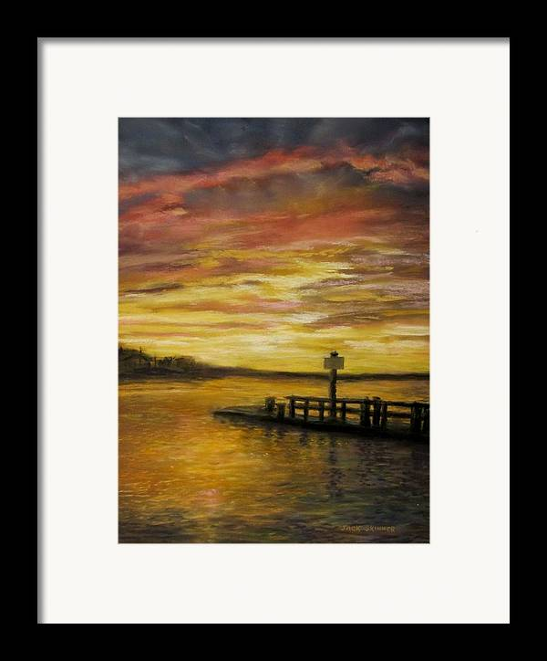 Sunset Framed Print featuring the painting Sesuit Harbor At Sunset by Jack Skinner