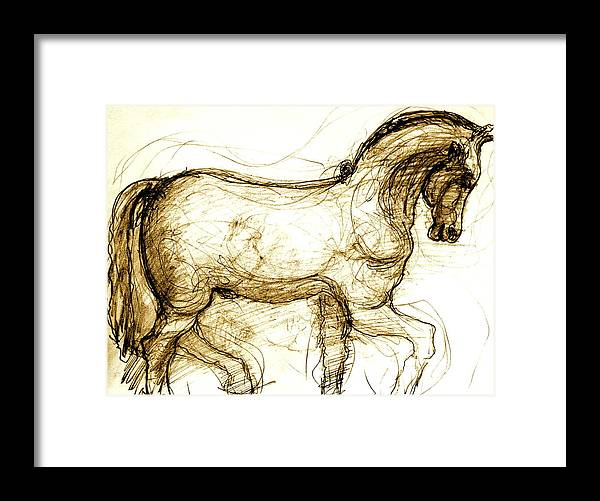Horse Framed Print featuring the drawing Set The Stallion Free by Dan Earle