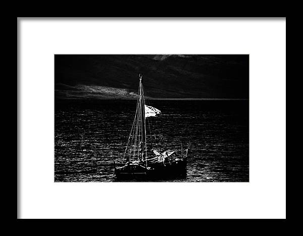 Black And White Photography Framed Print featuring the photograph Setting Sail by Kelly Hayner
