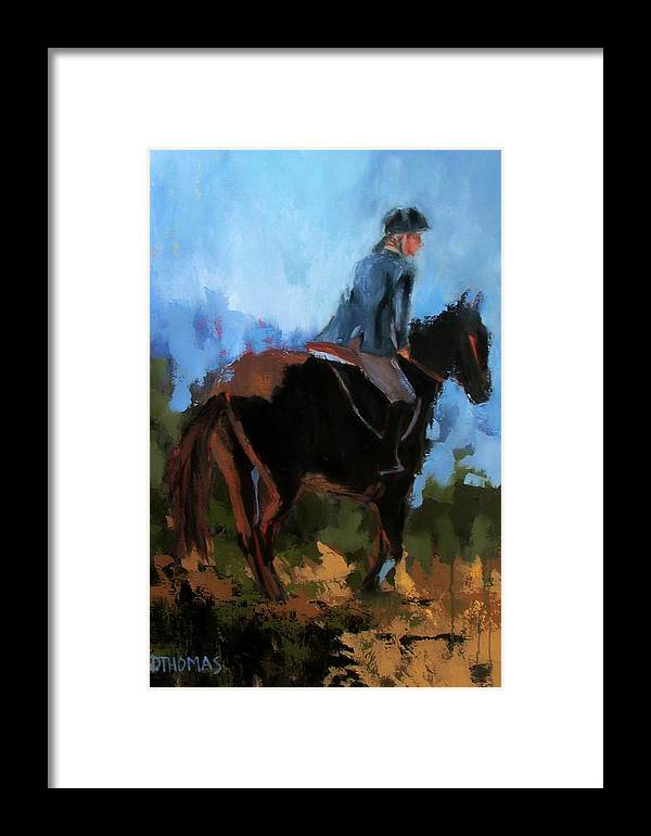 Horse Framed Print featuring the painting Setting Up The Jump by Donna Thomas