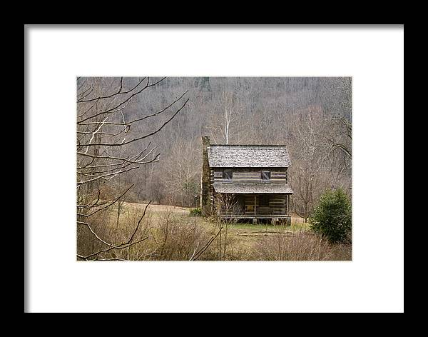 Settlers Framed Print featuring the photograph Settlers Cabin In Cades Cove by Douglas Barnett