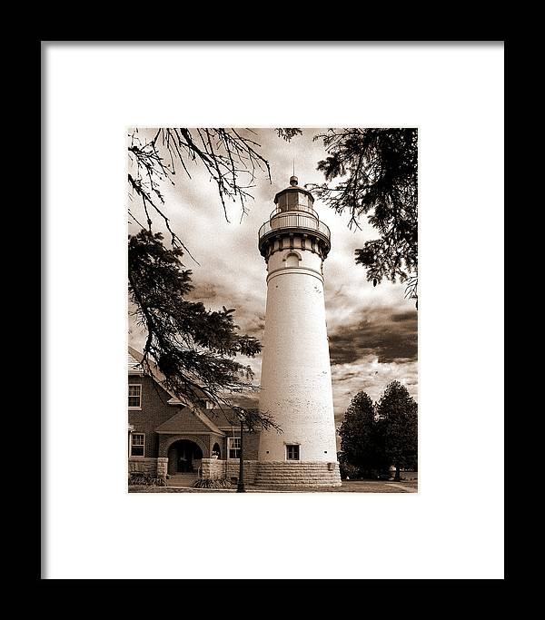 Lighthouse Framed Print featuring the photograph Seul Choix Point Lghthouse Mi by Rich Stedman