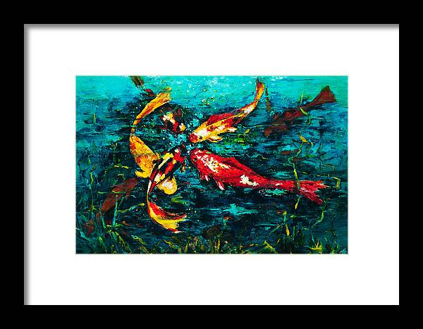 Koy Framed Print featuring the painting Seven Koi by Mary DuCharme