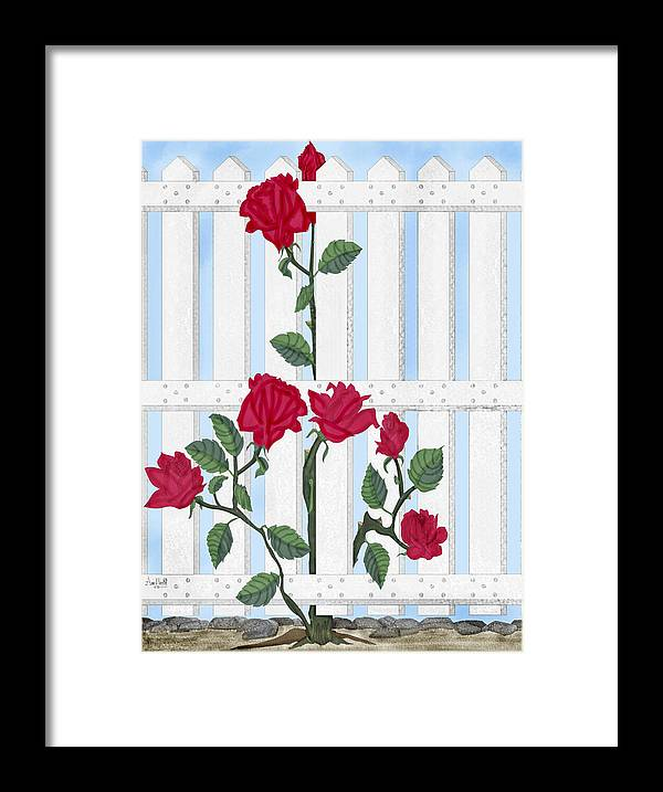 Roses Framed Print featuring the painting Seven Roses for Mary by Anne Norskog