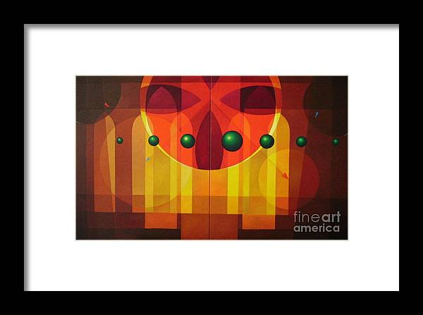 Geometric Abstract Framed Print featuring the painting Seven Windows - 2 by Alberto DAssumpcao