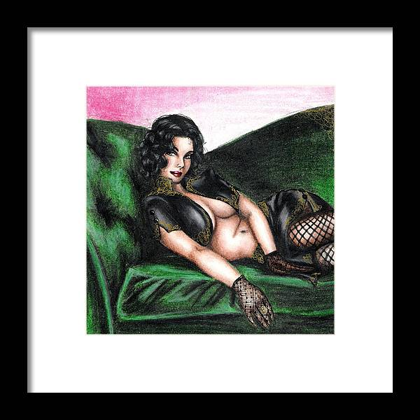 Figure Framed Print featuring the drawing Sexy Flirt by Scarlett Royal