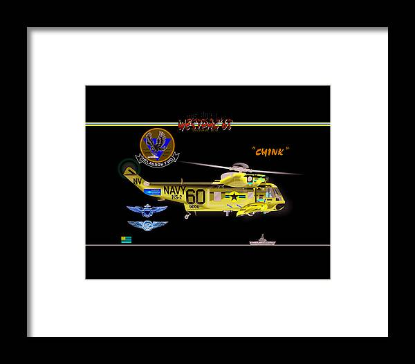 Framed Print featuring the digital art Sh-3a Seaking From Hs-2 by Mike Ray