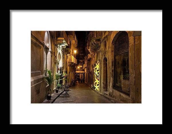 Georgia Mizuleva Framed Print featuring the photograph Shabby Chic - Small Street Night Walk In Syracuse Sicily by Georgia Mizuleva