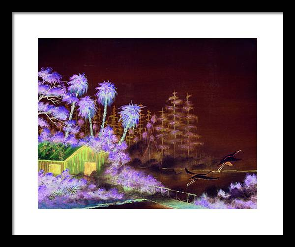 Landscape Framed Print featuring the painting Shack In A Swamp by Dennis Vebert