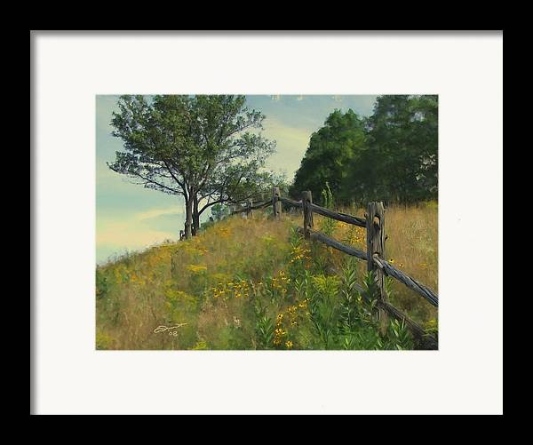 Country Rural Fence Vermont Flower Summer Painting Rail Tree Hill Goldenrod Shade Wild Sargent Oil Framed Print featuring the painting Shade Tree by Eddie Durrett