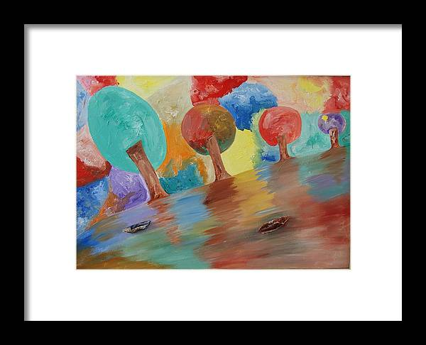 Elusive Nature Framed Print featuring the painting Shades Of Illusive Nature by Aim to be Aimless