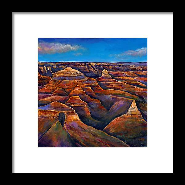 Landscapes Framed Print featuring the painting Shadow Canyon by Johnathan Harris
