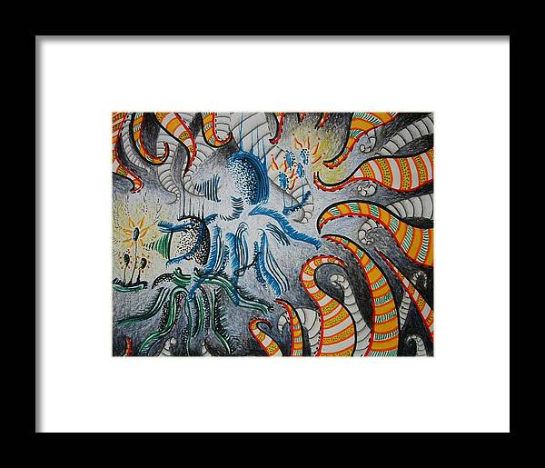 Abstract Framed Print featuring the drawing Shadow Frawns by Andrea Darlington