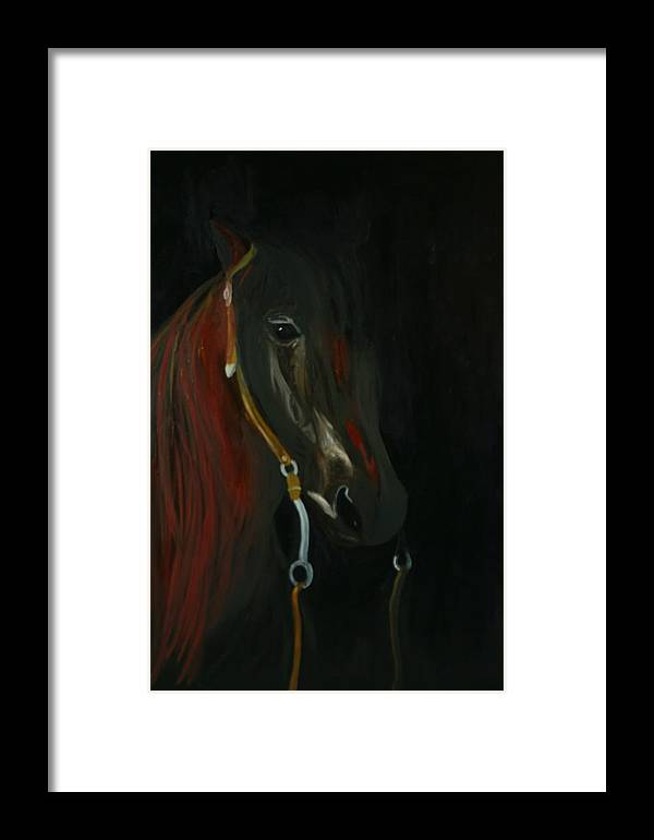Horse Framed Print featuring the painting Shadow by Karen Rester