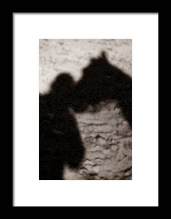 Shadow Framed Print featuring the photograph Shadow Of Horse And Girl - Vertical by Angela Rath