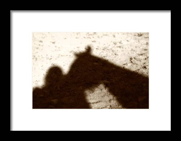 Shadow Framed Print featuring the photograph Shadow Of Horse And Girl by Angela Rath