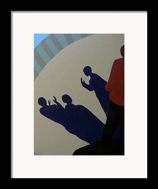 Talking Framed Print featuring the painting Shadow Talk by Renee Kahn