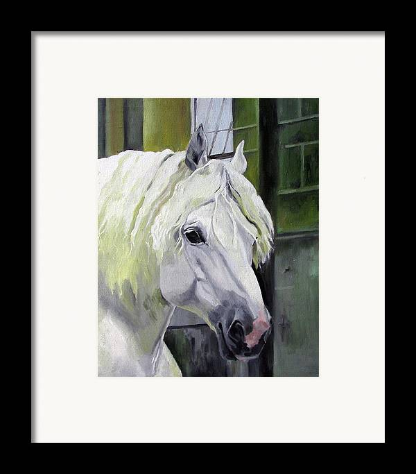 Horse Framed Print featuring the painting Shadowfax by Nel Kwiatkowska