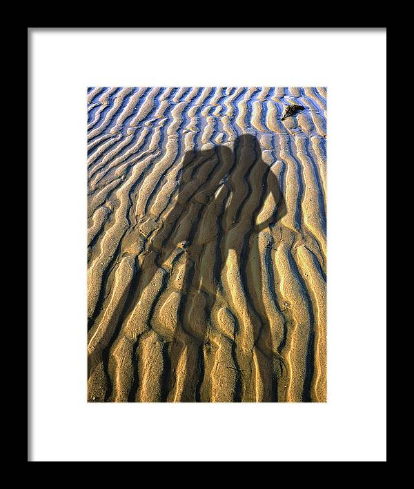 Two Women Body Shadows On A Beech Sand Of Cape Cod. Number 2 Framed Print featuring the photograph Shadows 02 by Victor Yekelchik