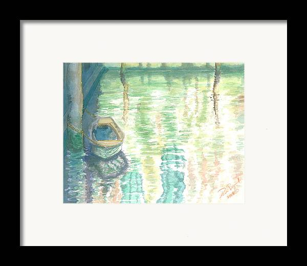Boat Framed Print featuring the painting Shadows And Reflections by Dan Bozich