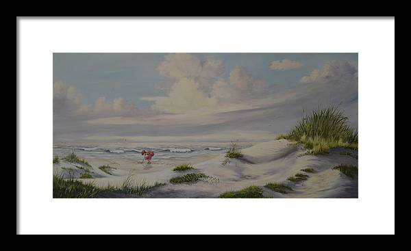 Landscape Framed Print featuring the painting Shadows In The Sand Dunes by Wanda Dansereau