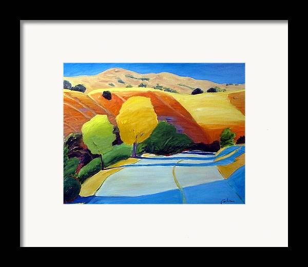 Road Framed Print featuring the painting Shadows On Metcalf Road by Gary Coleman