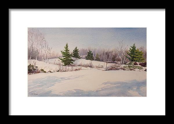 Shadows Framed Print featuring the painting Shadows On Snow In The Canadian Shield by Debbie Homewood