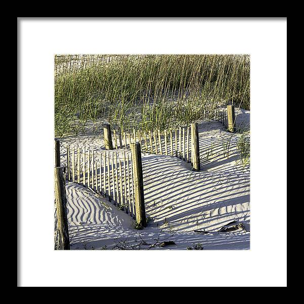 Composition Framed Print featuring the photograph Shadows On The Dune by Elizabeth Eldridge