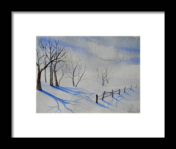 Snow Framed Print featuring the painting Shadows On The Snow by Lisa Schorr