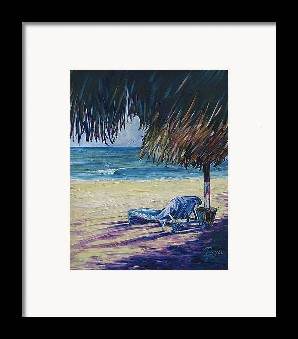 Beach Framed Print featuring the painting Shady Beach by Karen Doyle