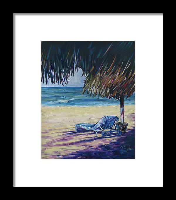 Beach Framed Print featuring the painting Shady Beach by Karen Doyle