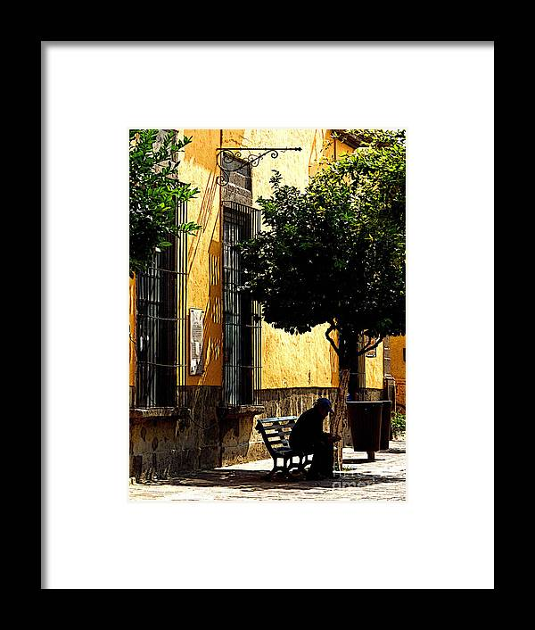 Tlaquepaque Framed Print featuring the photograph Shady Bench by Mexicolors Art Photography