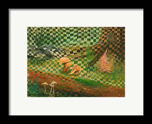 Mushrooms Framed Print featuring the painting Shady Grove by Linda L Doucette