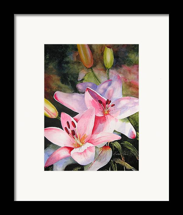 Lilies Framed Print featuring the painting Shady Ladies by Karen Stark