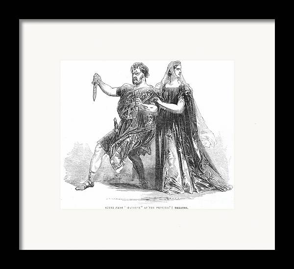 1845 Framed Print featuring the photograph Shakespeare: Macbeth, 1845 by Granger