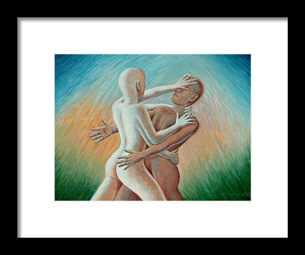 Nude Framed Print featuring the painting Shakti Push - Pull by Allan OMarra