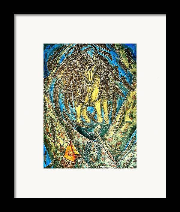 Animals Framed Print featuring the painting Shaman Spirit by Kim Jones