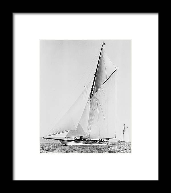 Shamrock Iii 1903 Bw Framed Print featuring the photograph Shamrock IIi 1903 Bw by Padre Art