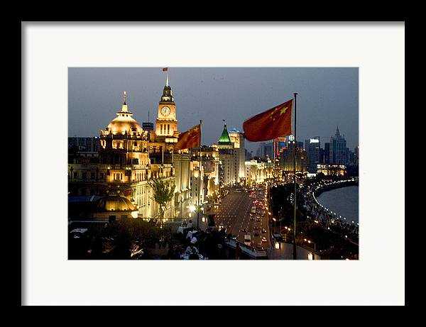 Shanghai Bund Framed Print featuring the photograph Shanghai Bund At Night by Charles Ridgway