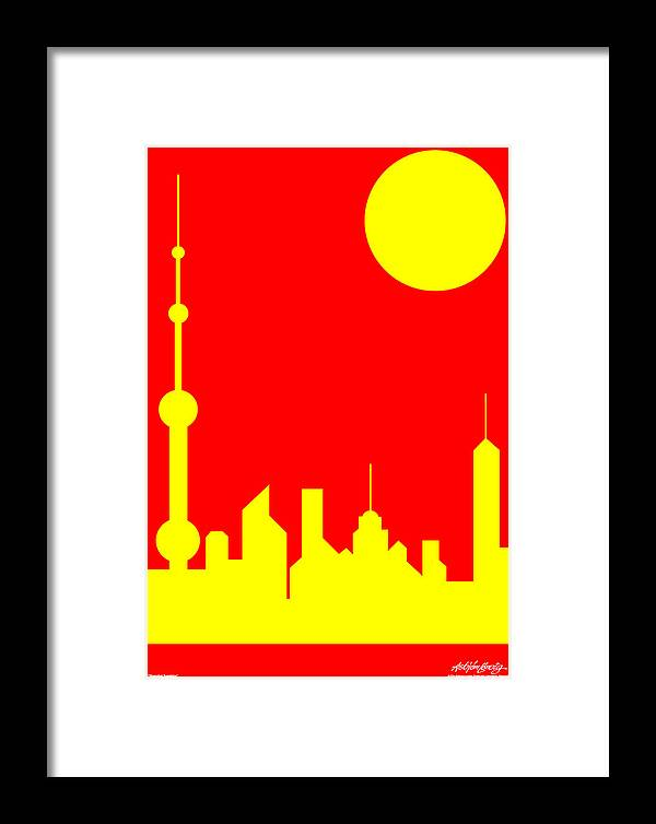 Framed Print featuring the digital art Shanghai Sunshine by Asbjorn Lonvig