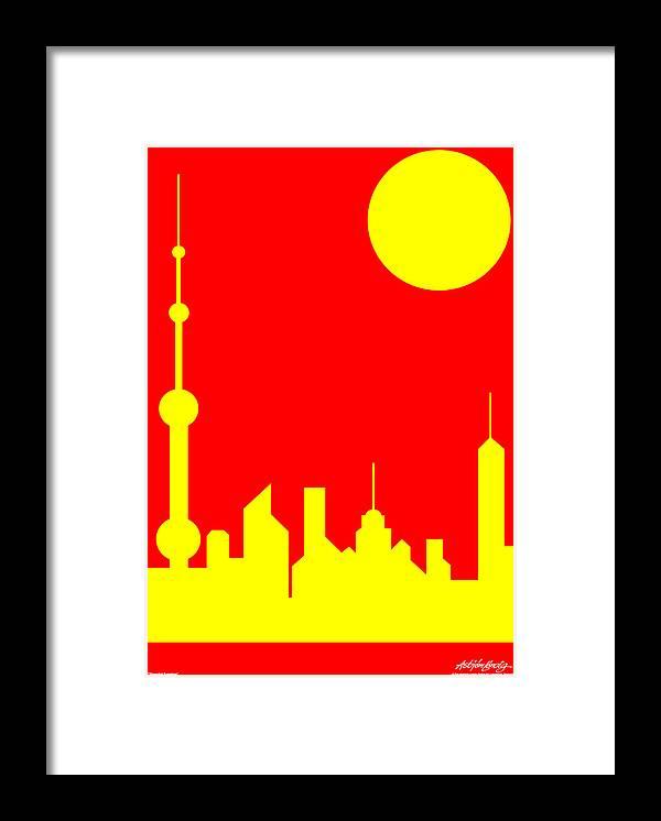 Framed Print featuring the digital art Shanghai Sunshine by Asbjorn Lonvig