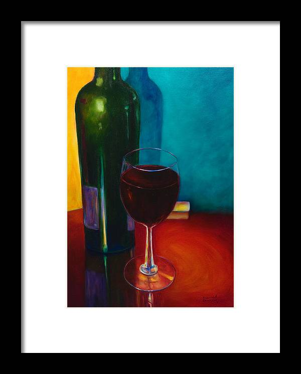 Wine Bottle Framed Print featuring the painting Shannon's Red by Shannon Grissom