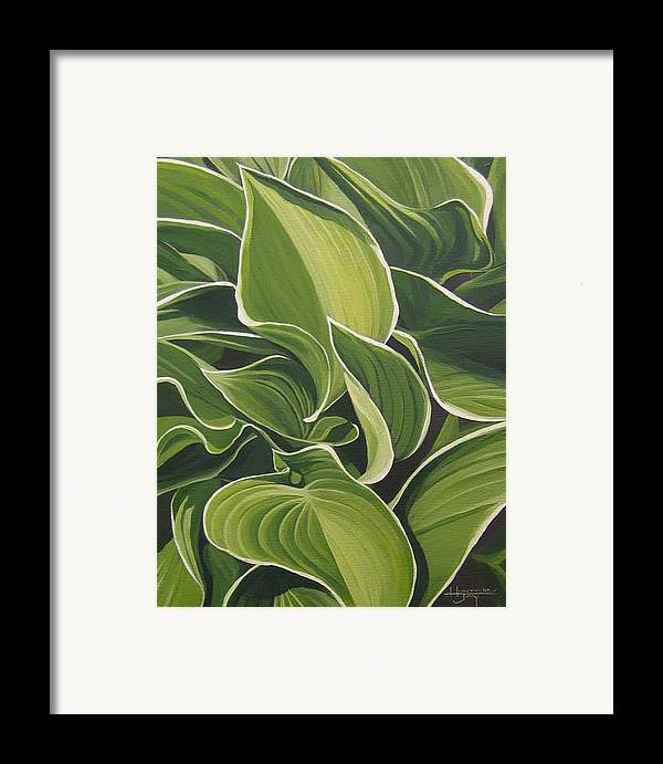 Closeup Of Hosta Plant Framed Print featuring the painting Shapes That Go Together by Hunter Jay