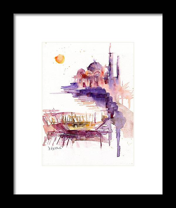 Landscape Framed Print featuring the painting Sharjah Sunset by Beena Samuel