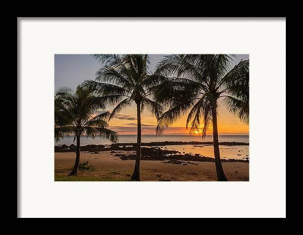 Sharks Cove Palm Tree Sunset Beach North Shore Oahu Hawaii Hi Seascape Framed Print featuring the photograph Sharks Cove Sunset 4 - Oahu Hawaii by Brian Harig